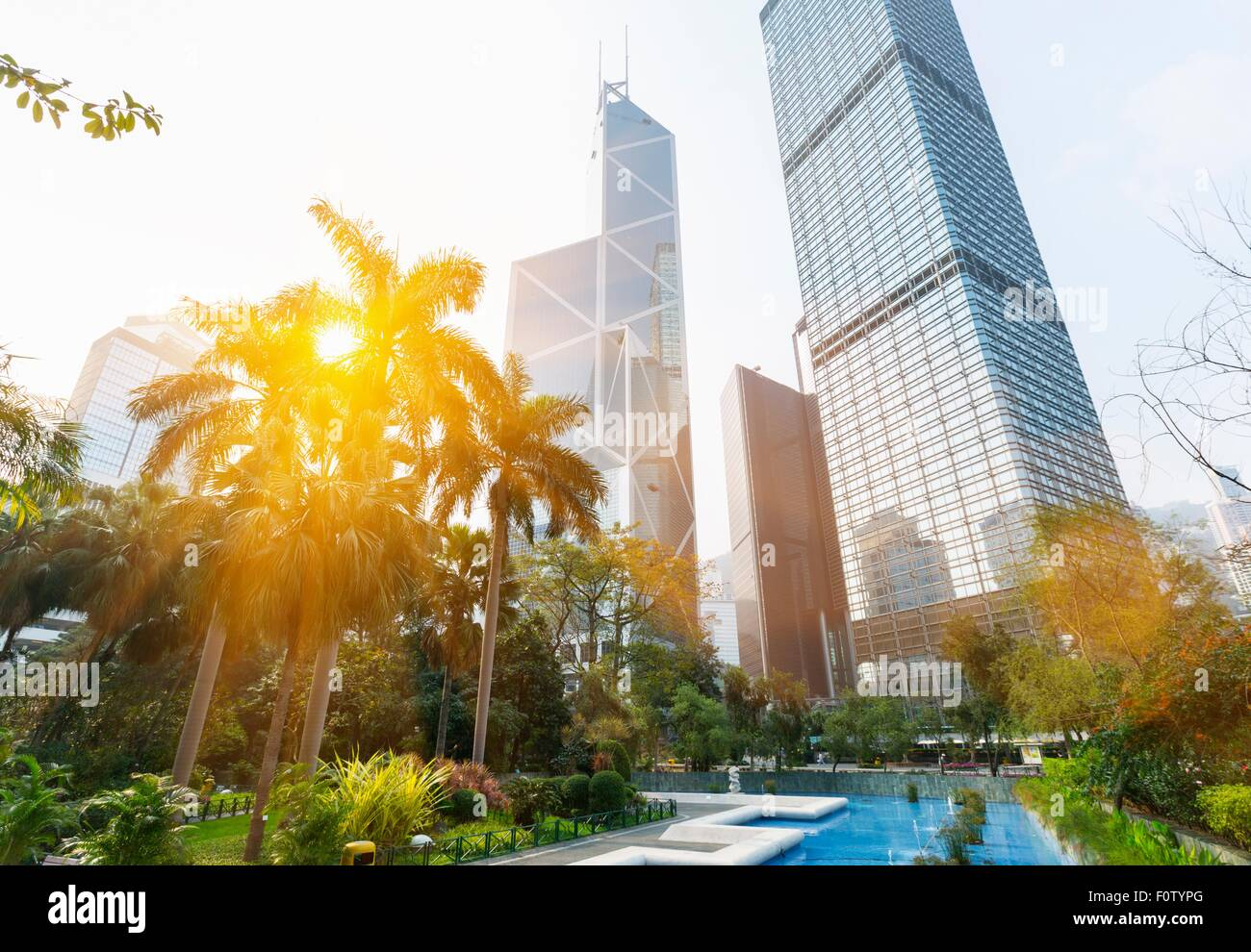 Statue square skyline including Bank of China building, Cheung Kong Center, Hong Kong, China - Stock Image