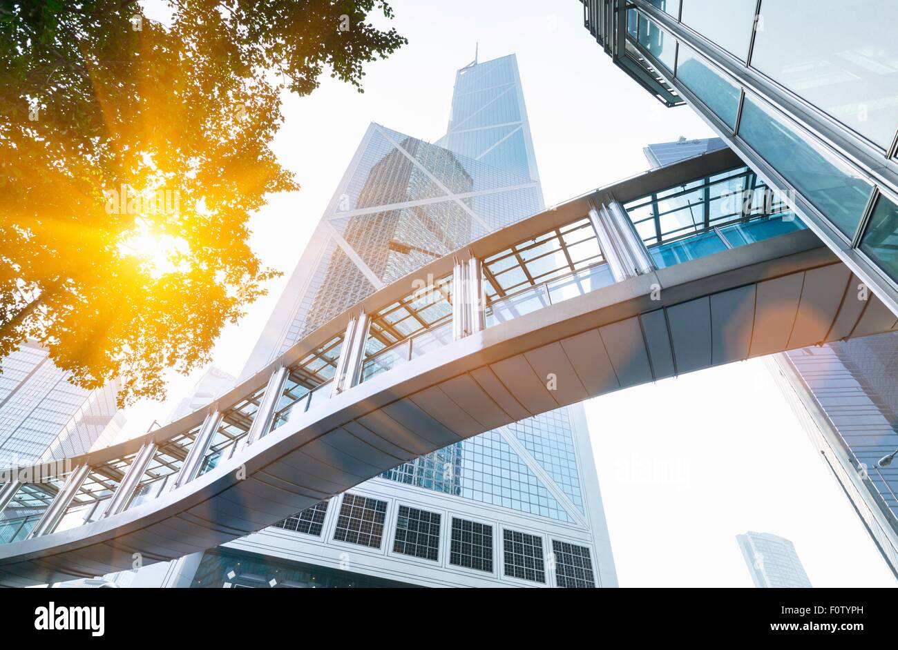 Pedestrian walkway and Bank of China building, Hong Kong, China - Stock Image
