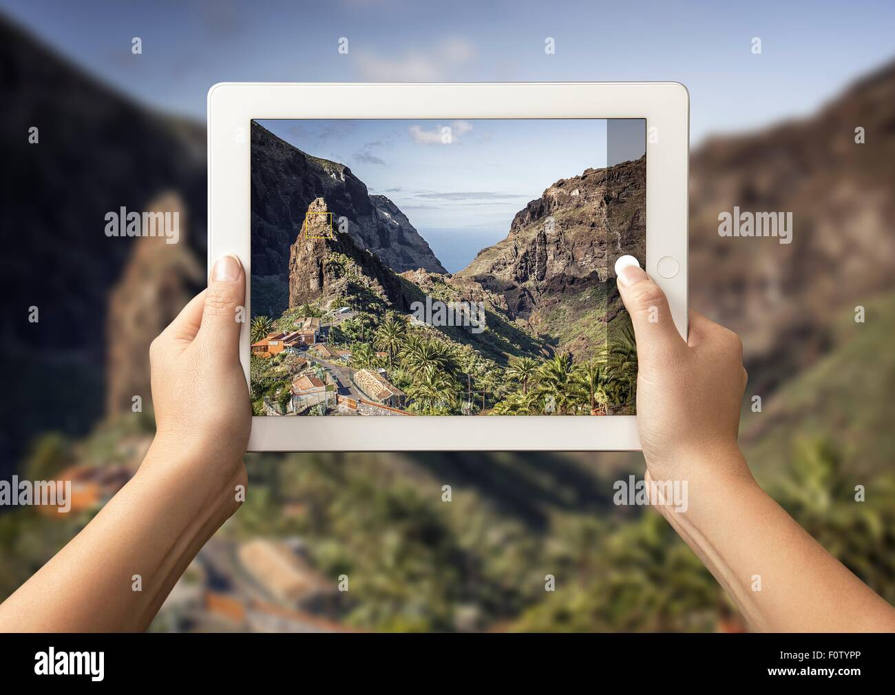 Hands of young woman holding up digital tablet with view of Masca Valley in front of view of Masca Valley, Tenerife, - Stock Image