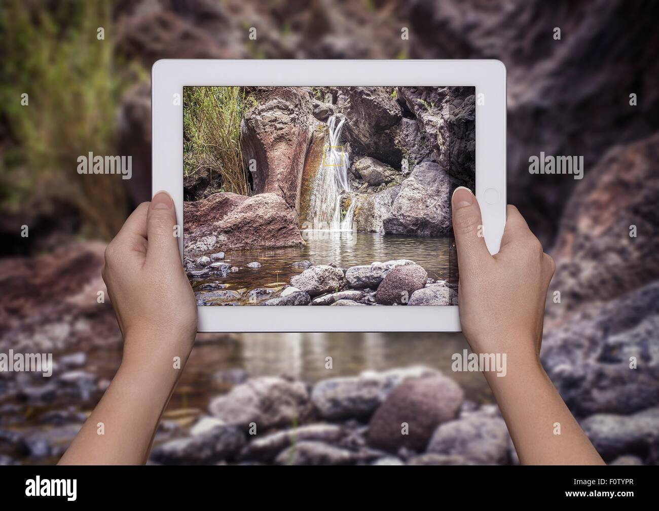Hands of young woman holding up digital tablet with view of Samaria Gorge in front of view of Samaria Gorge, Crete, - Stock Image