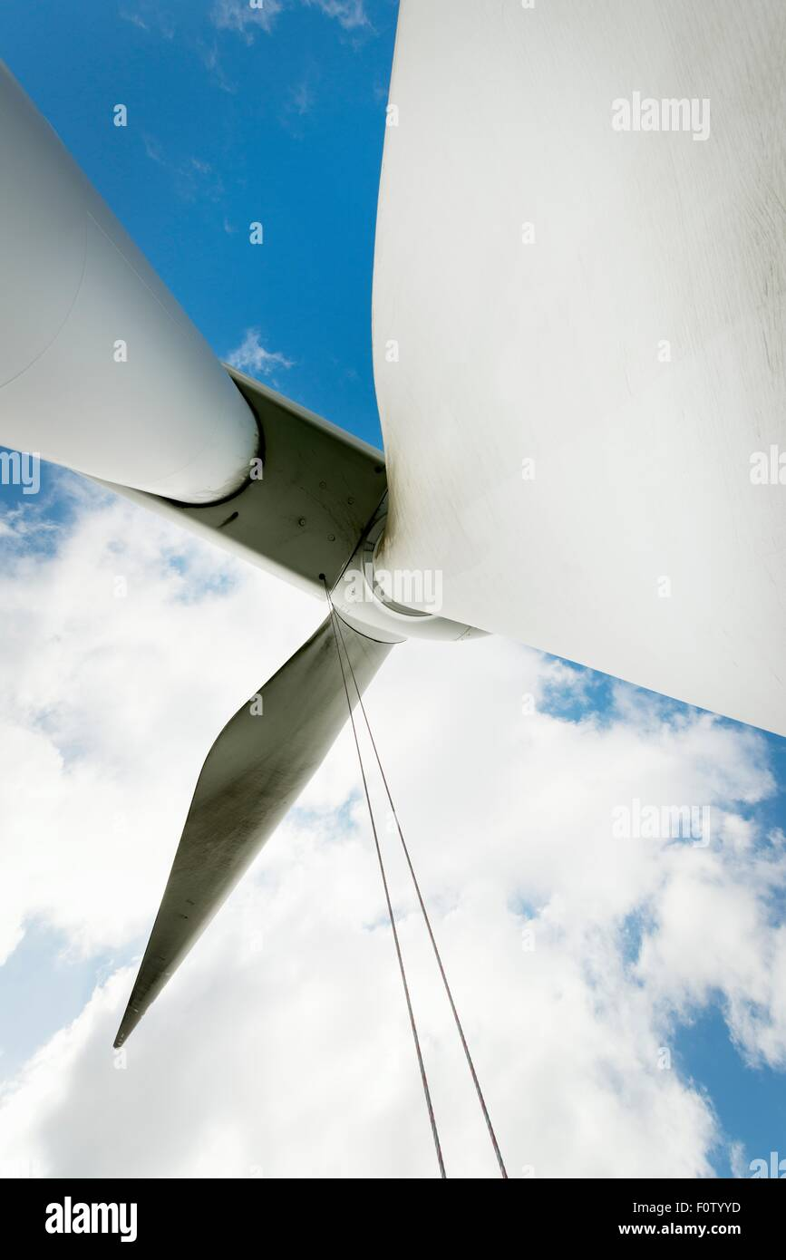 Maintenance work on the blades of a wind turbine - Stock Image