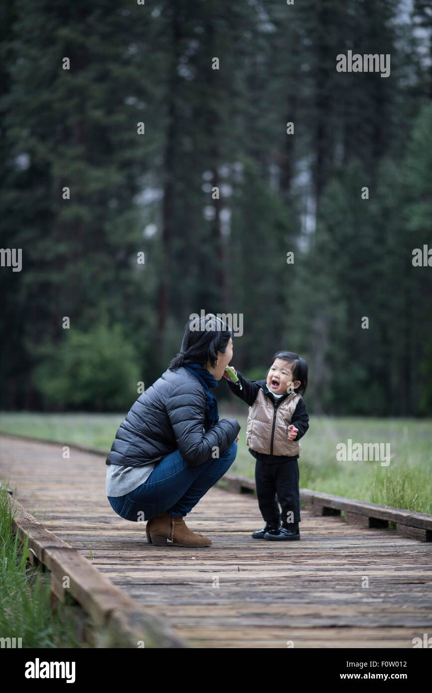 Mid adult woman crouching with toddler daughter on walkway, Yosemite National Park, California, USA - Stock Image