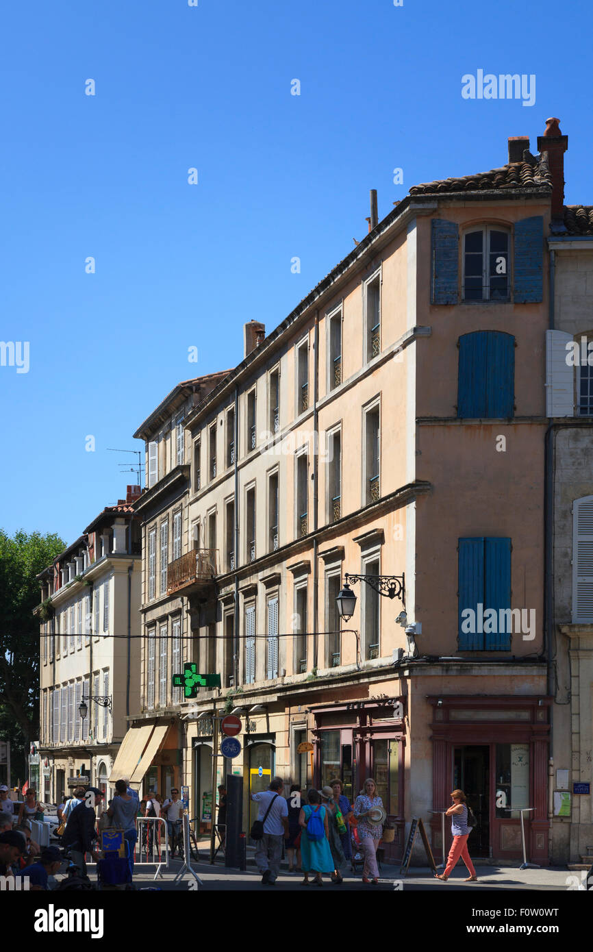 City streets and buildings in the city centre of Arles France - Stock Image