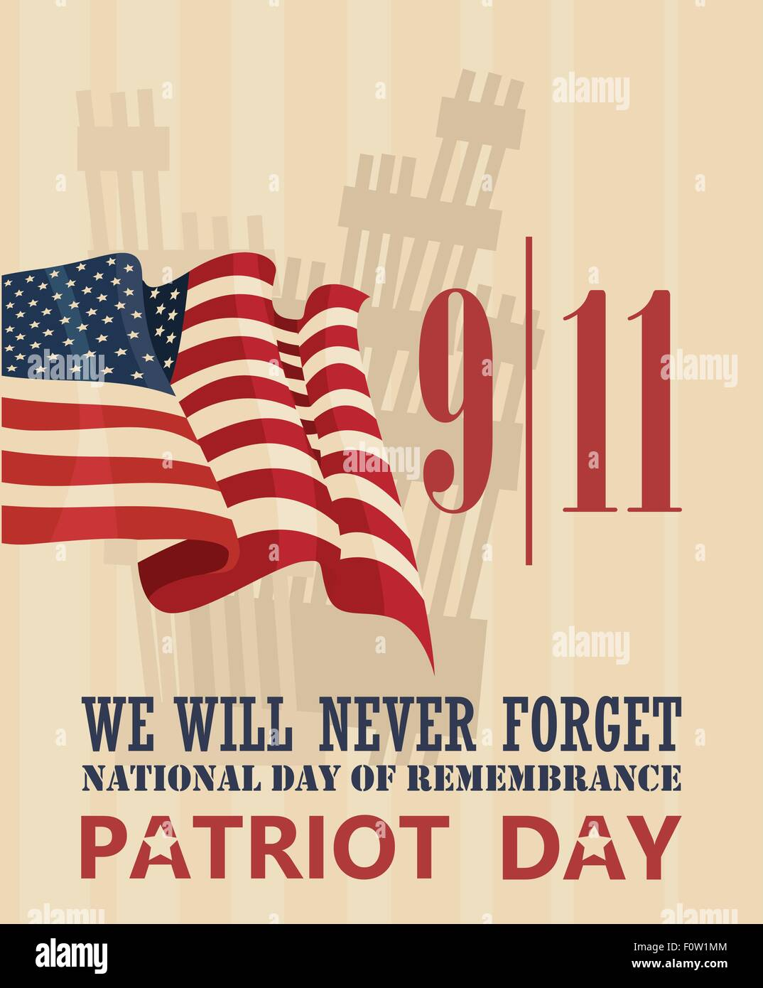 9/11 Patriot Day, September 11. Never Forget. National day of remembrance. - Stock Image