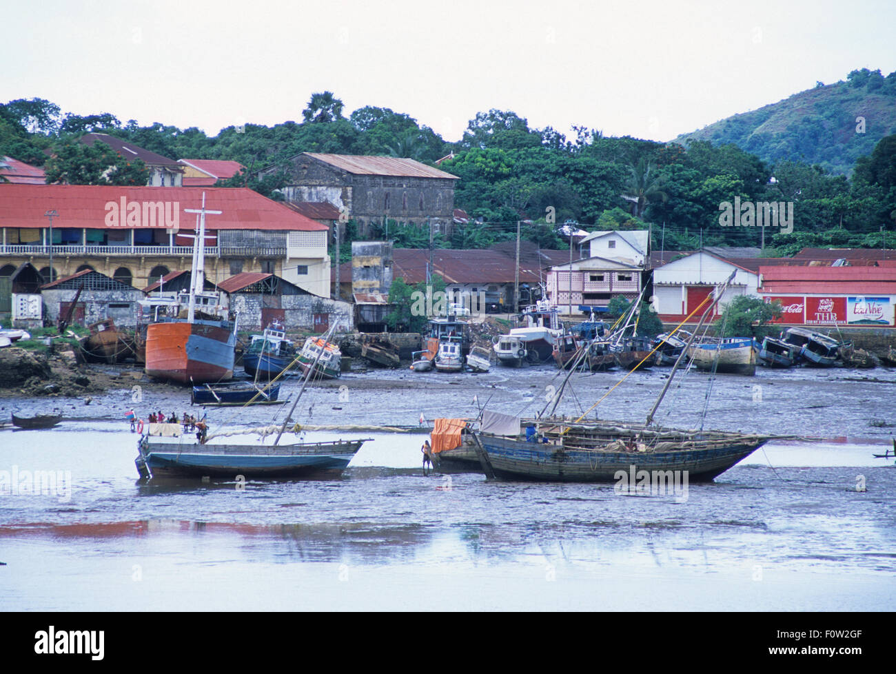 Hellville harbour at Maradokana, Nosy Be, Madagascar, Indian Ocean - Stock Image