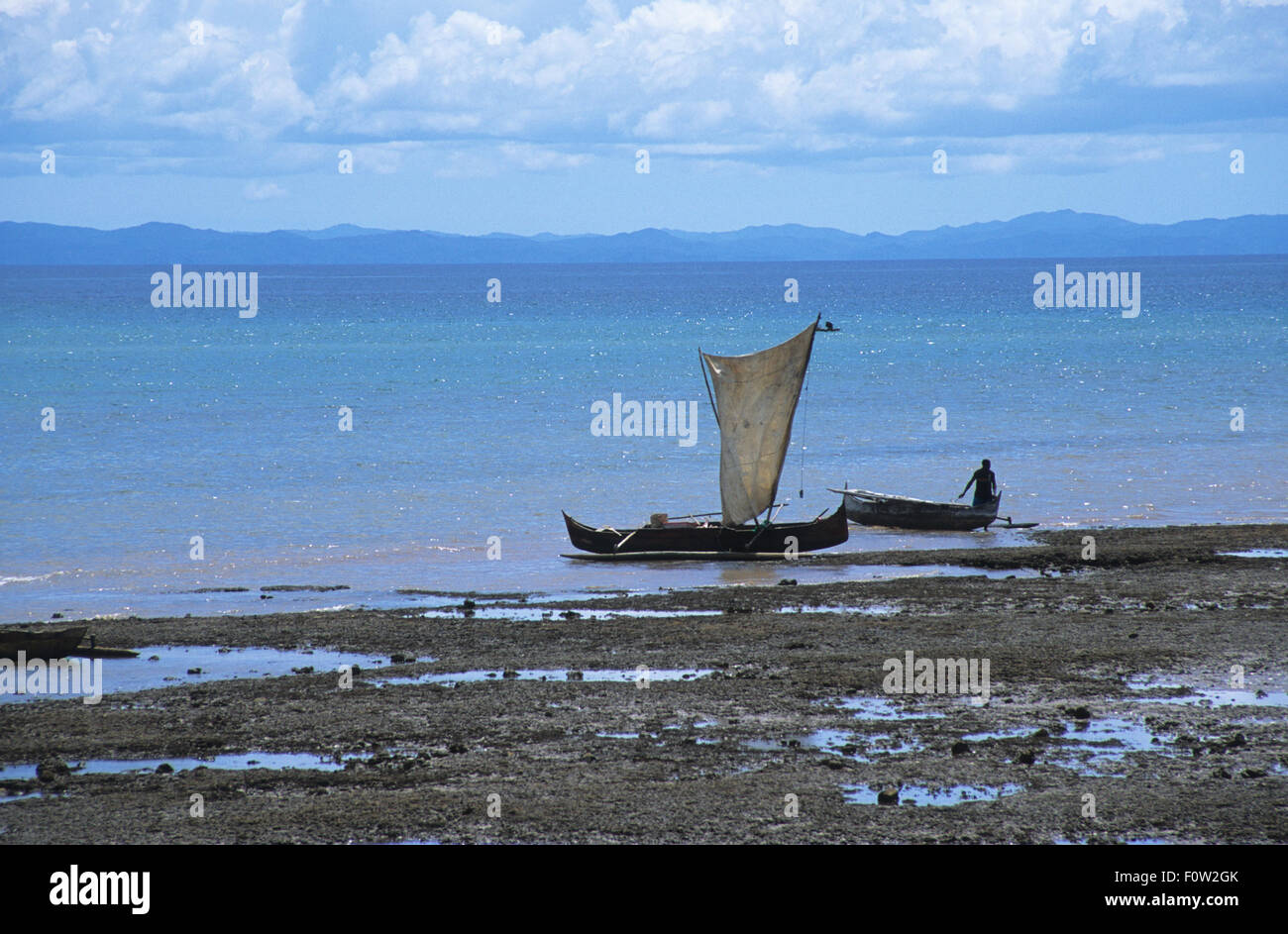 Local sailing boat at Maradokana, Hellville, Nosy Be, Madagascar, Indian Ocean - Stock Image