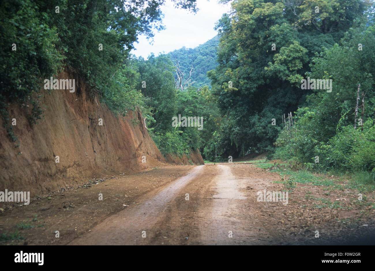 Maradokana road near the capital of Andoany or Hell-Ville, Nosy Be island, Diana Region, Madagascar, Indian Ocean - Stock Image
