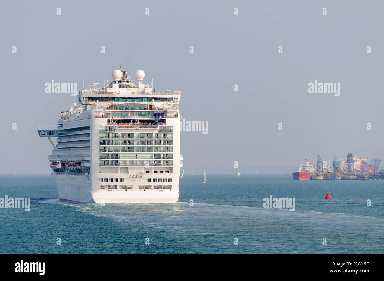 Cruise ship Azura leaves Southampton Water, heading for the Solent - Stock Image