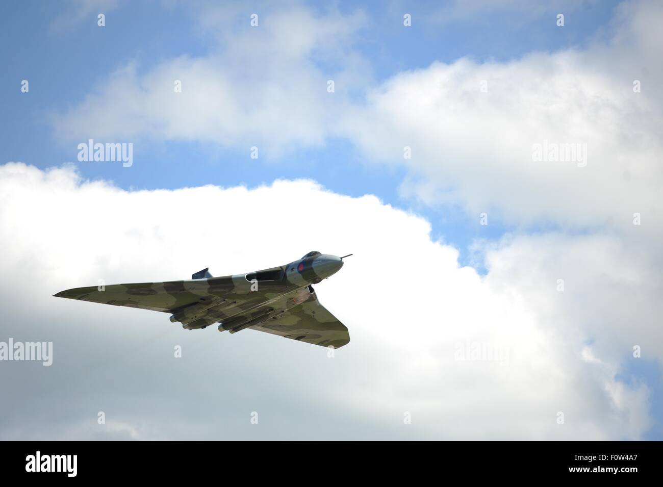 RAF Vulcan bomber on its final flight over East Midlands Airport - Stock Image