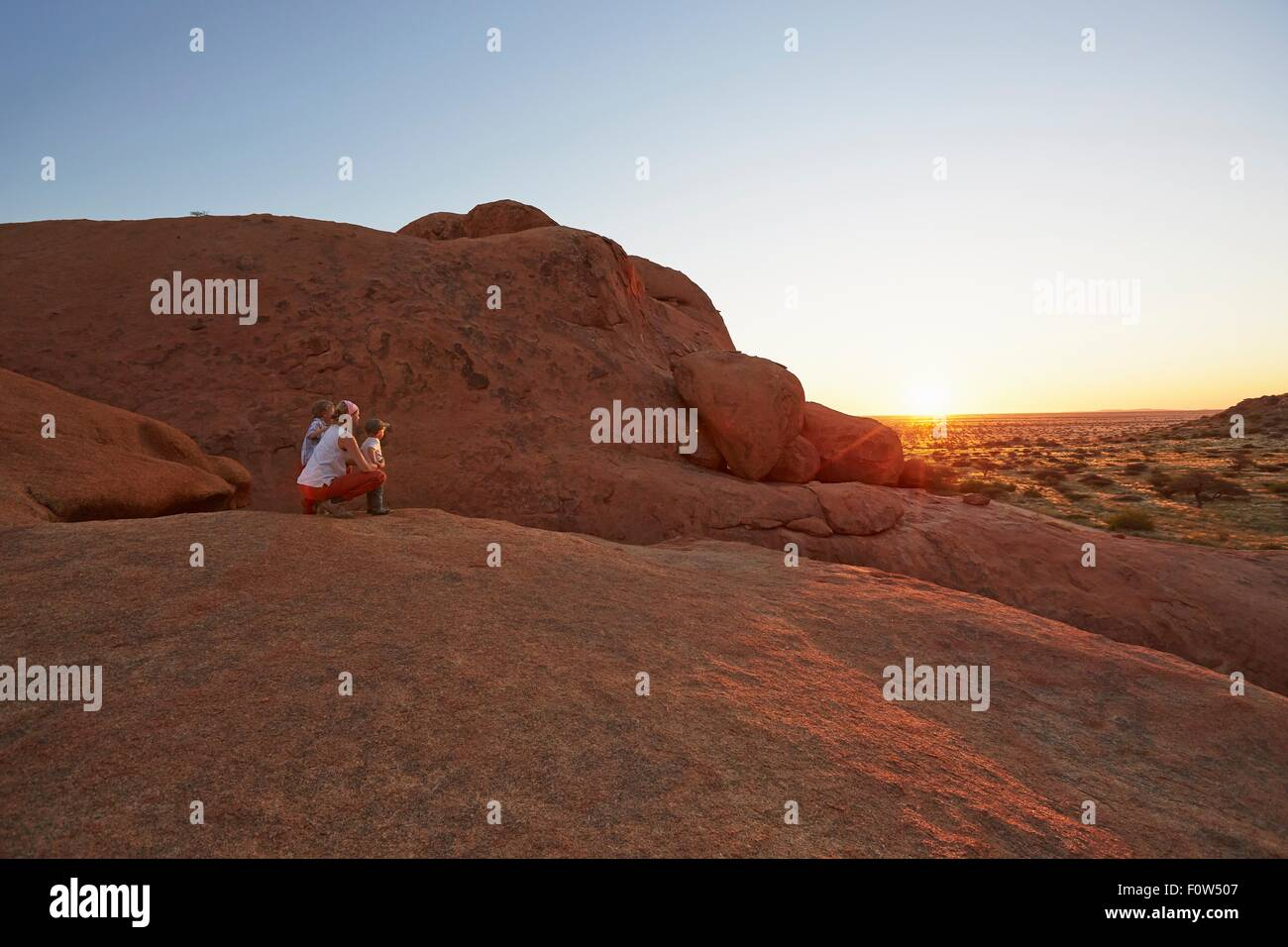 Mother and children looking at view, Swakopmund, Erongo, Namibia - Stock Image