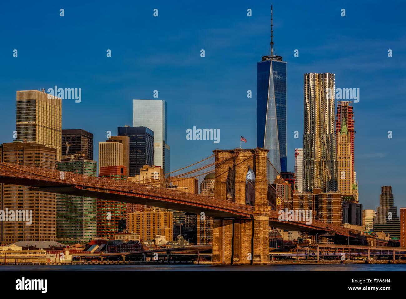 Brooklyn Bridge and the New York City skyline. Stock Photo