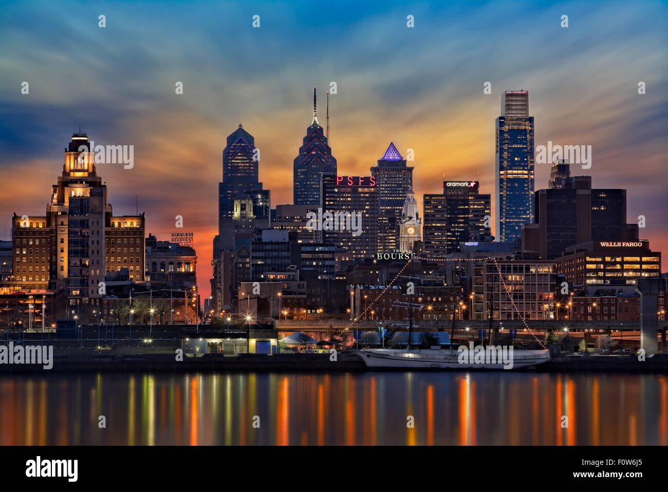 A view to the Philadelphia Skyline shortly after sunset. - Stock Image