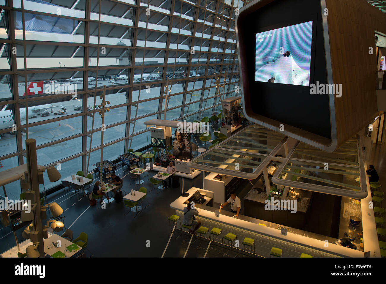 inside the departure lounge of Zurich airport - Stock Image