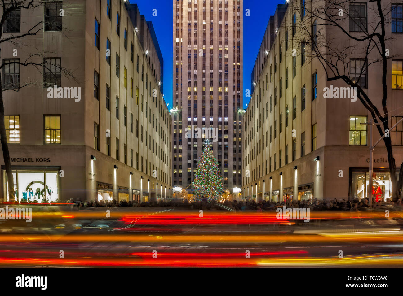 The Rockefeller Center Christmas Tree in New York City. - Stock Image