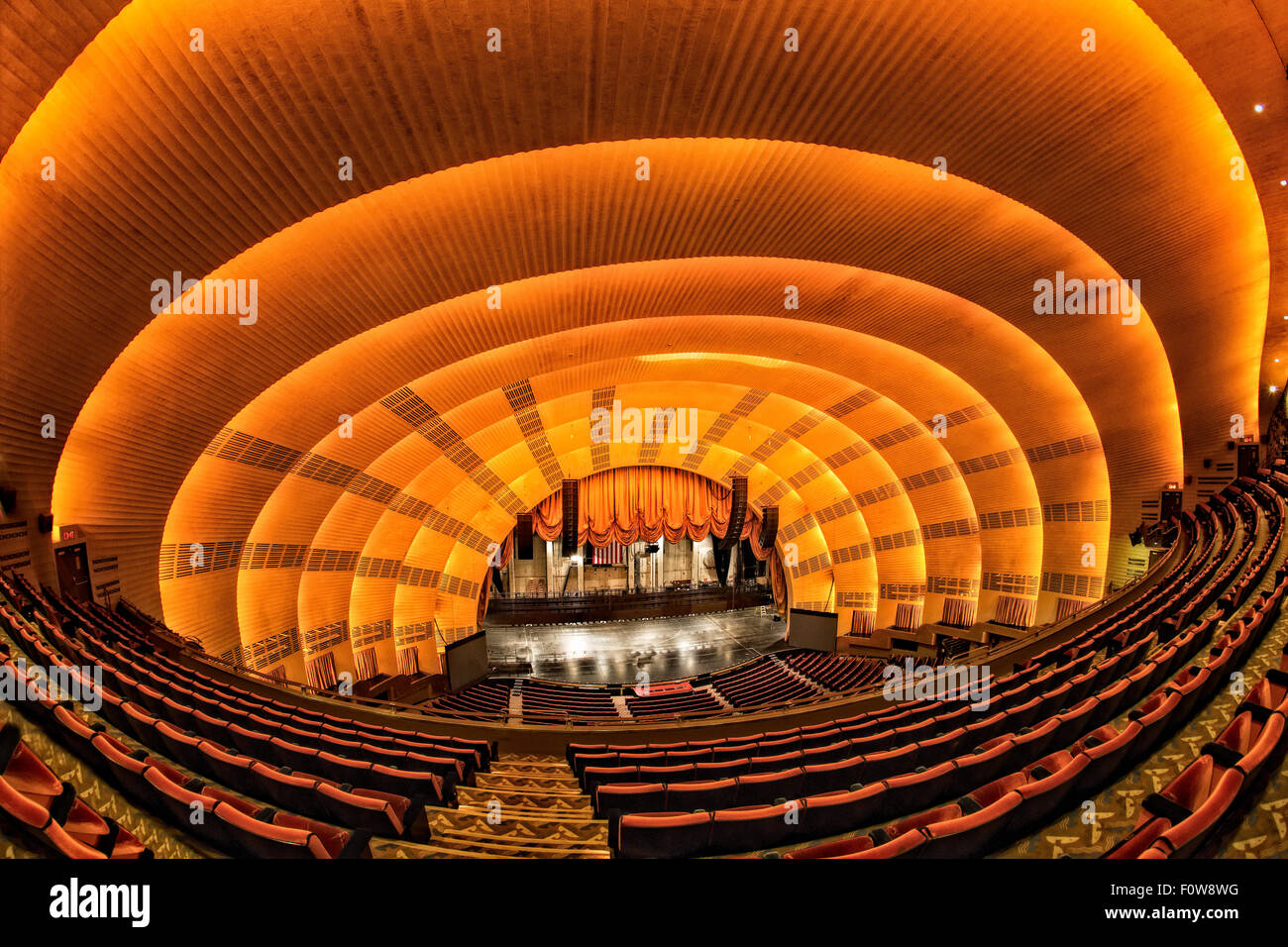 Interior view to the art deco architectural details of the iconic landmark Radio City Music Hall Theater. - Stock Image