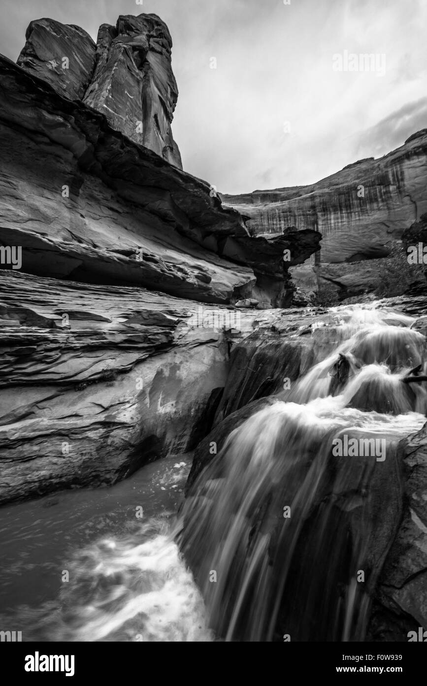 Stock Photo - Waterfall in Coyote Gulch part of Grand Staircase Escalante National Monument in southern Utah canyon Stock Photo