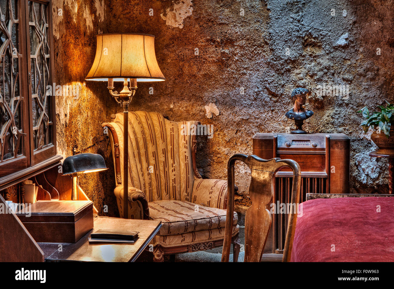 Interior view to the infamous Al (Scarface) Capone's cell at Eastern State Penitentiary (ESP) located in Philadelphia, - Stock Image