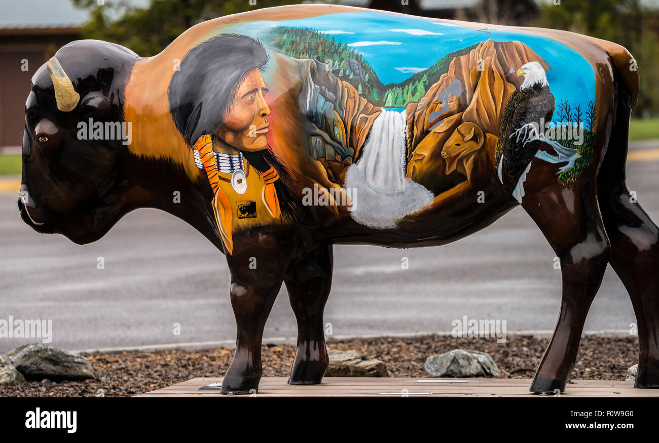 Motif decorative design of artistic Statue of Bison and Native American at the Discovery Center, West Yellowstone, - Stock Image
