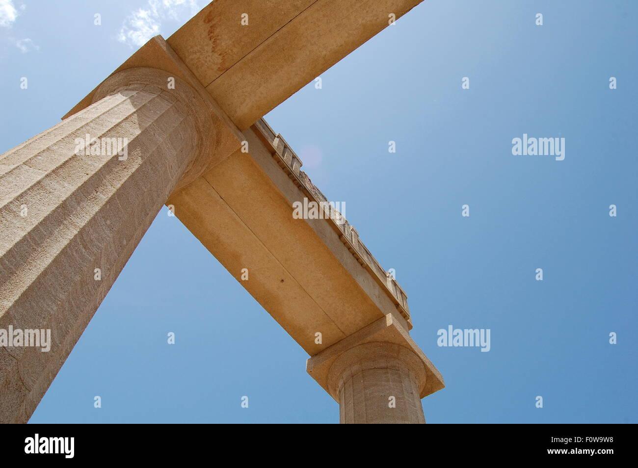Lindos Acropolis Skywards View. - Stock Image