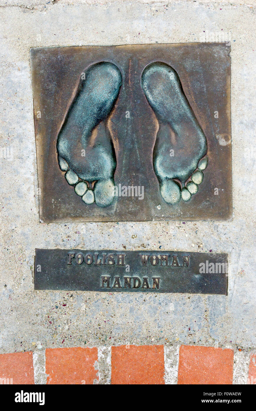 Footprint cast of Foolish Woman, the Mandan delegate to 1930 Indian Sign Language Conference at Browning. DETAILS - Stock Image