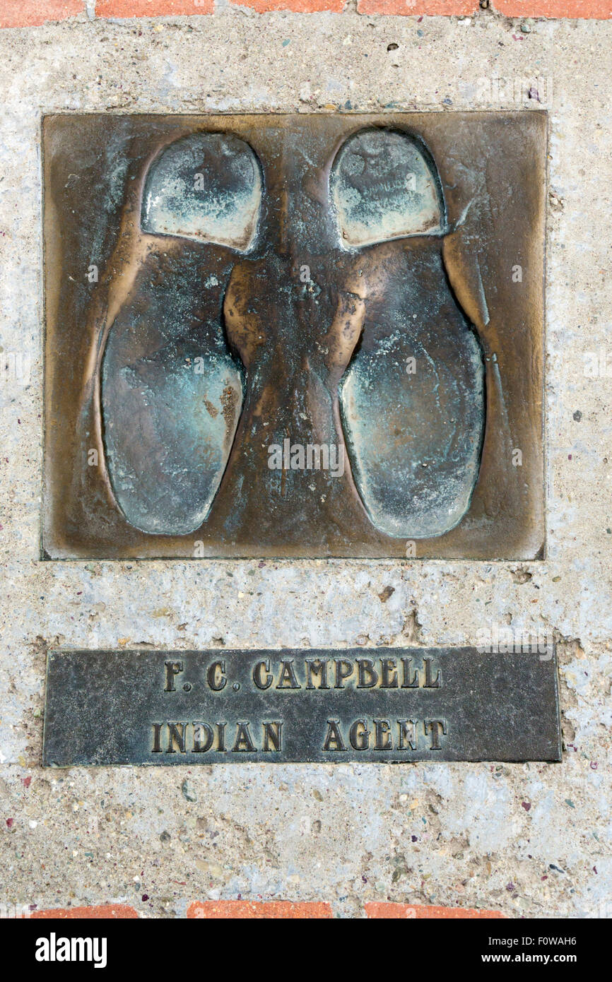 Footprint cast of F C Campbell Indian Agent, a delegate to 1930 Indian Sign Language Conference at Browning. DETAILS - Stock Image