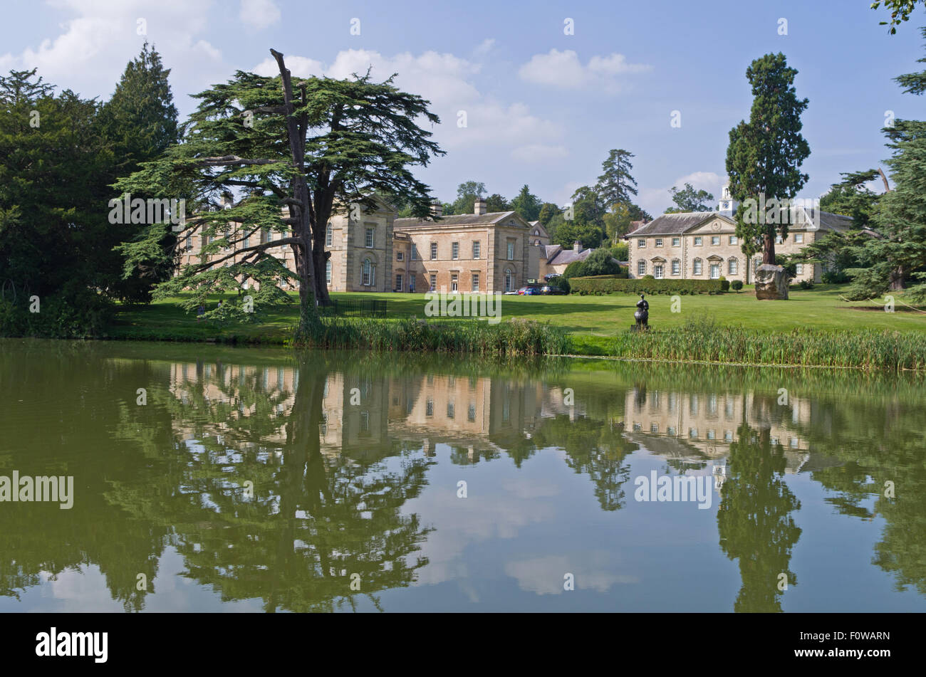 Compton Verney House in Warwickshire, seen from across the lake; it now houses an award winning art gallery - Stock Image