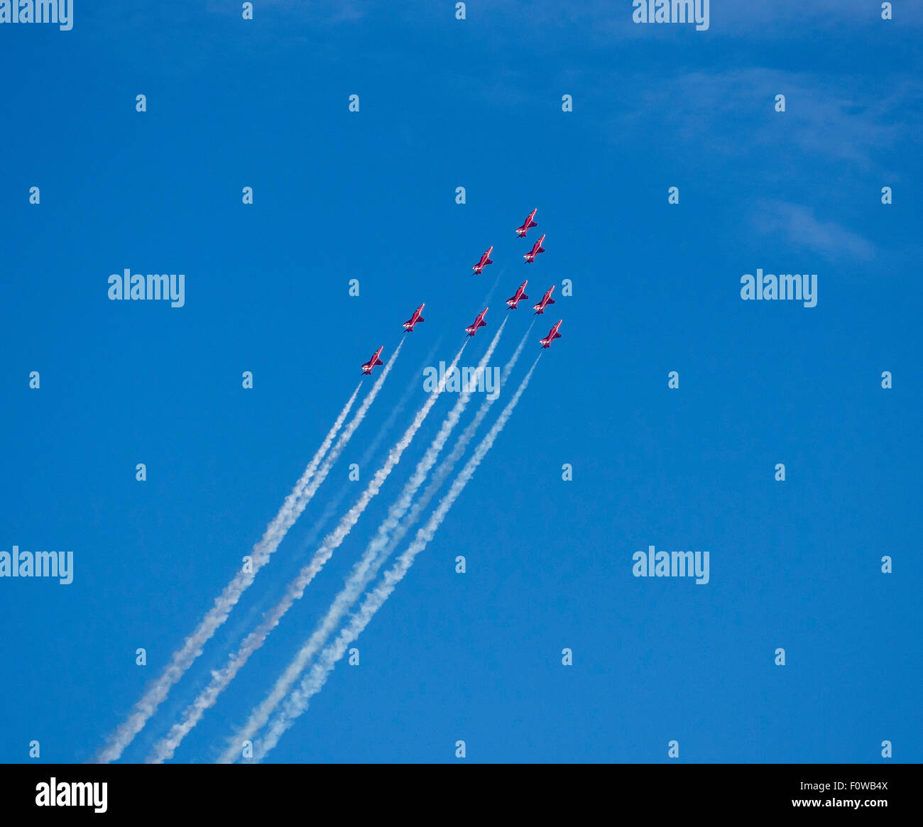 The Red Arrows, RAF Aerobatic Team fly above Poole Bay, Bournemouth,Dorset, England, UK - Stock Image