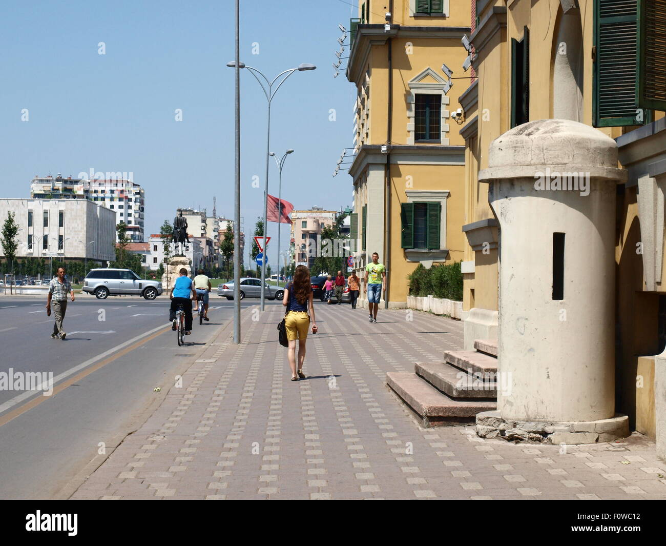 Tirana, Albania.The bunker in front of the government building. - Stock Image