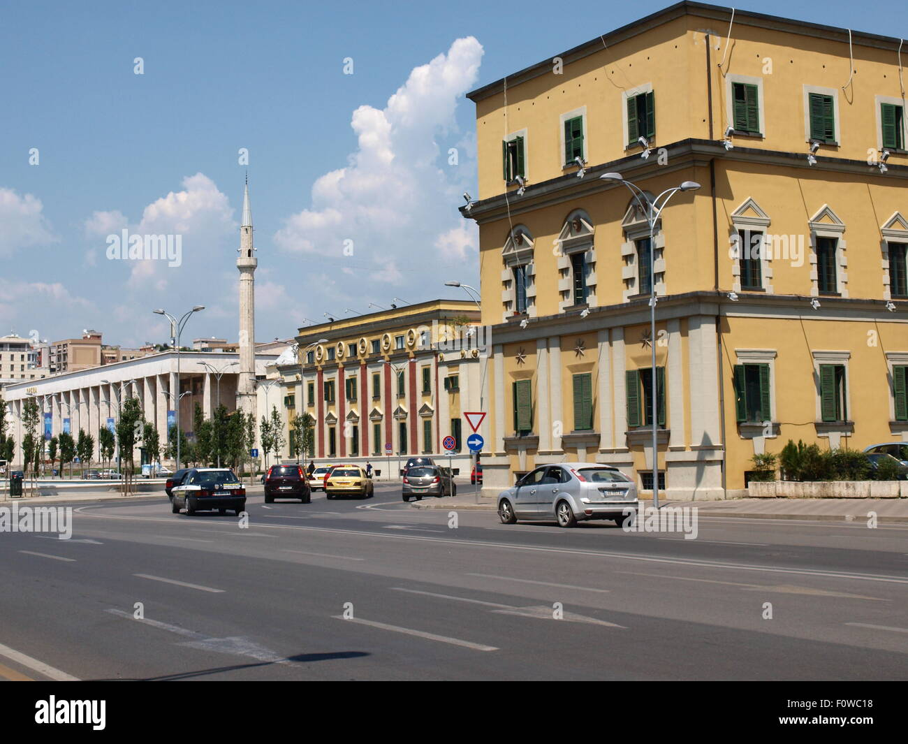 Tirana, Albania. Government buildings on the main street of the city. - Stock Image