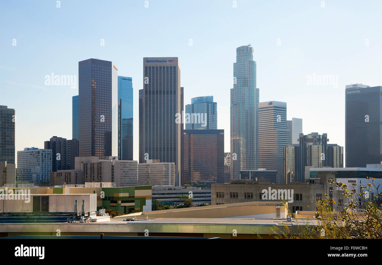 Downtown Los Angeles skyline, day, from the northwest, view to the southeast, 2014. Stock Photo