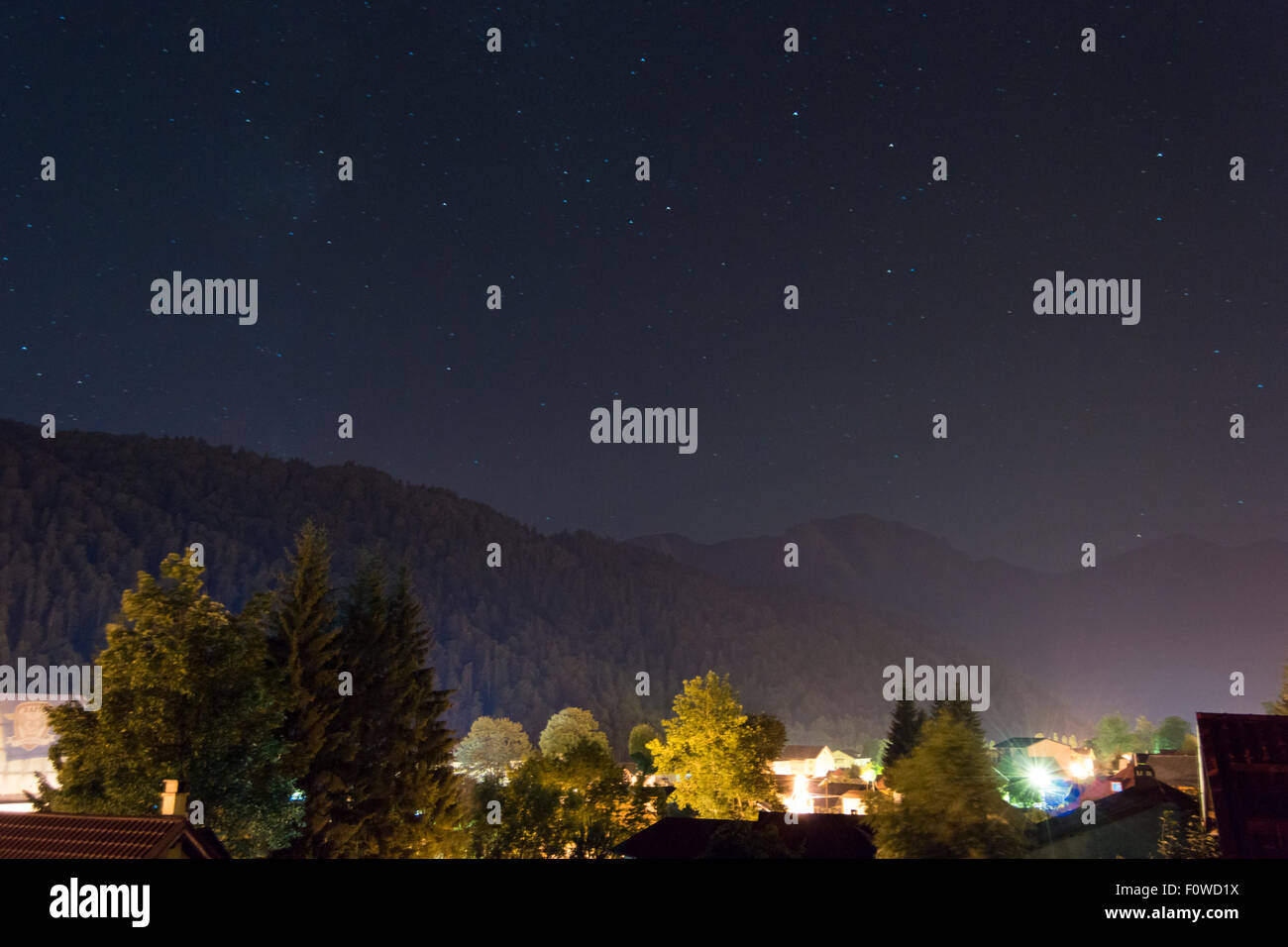 Mountain resort at night - Stock Image