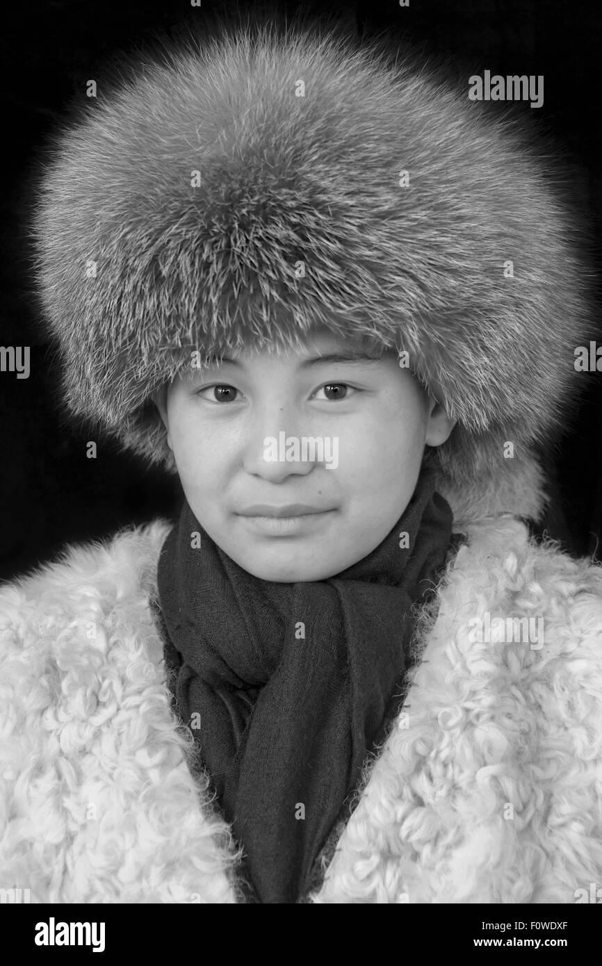 Portrait of a Kazakh girl BW, Olgii, Western Mongolia - Stock Image