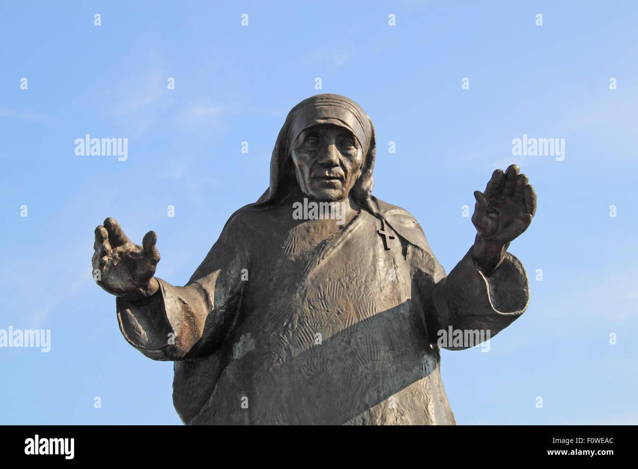 Statue of Saint (Mother) Teresa at entrance to Tirana International Airport Nënë Tereza, Rinas, Albania, - Stock Image