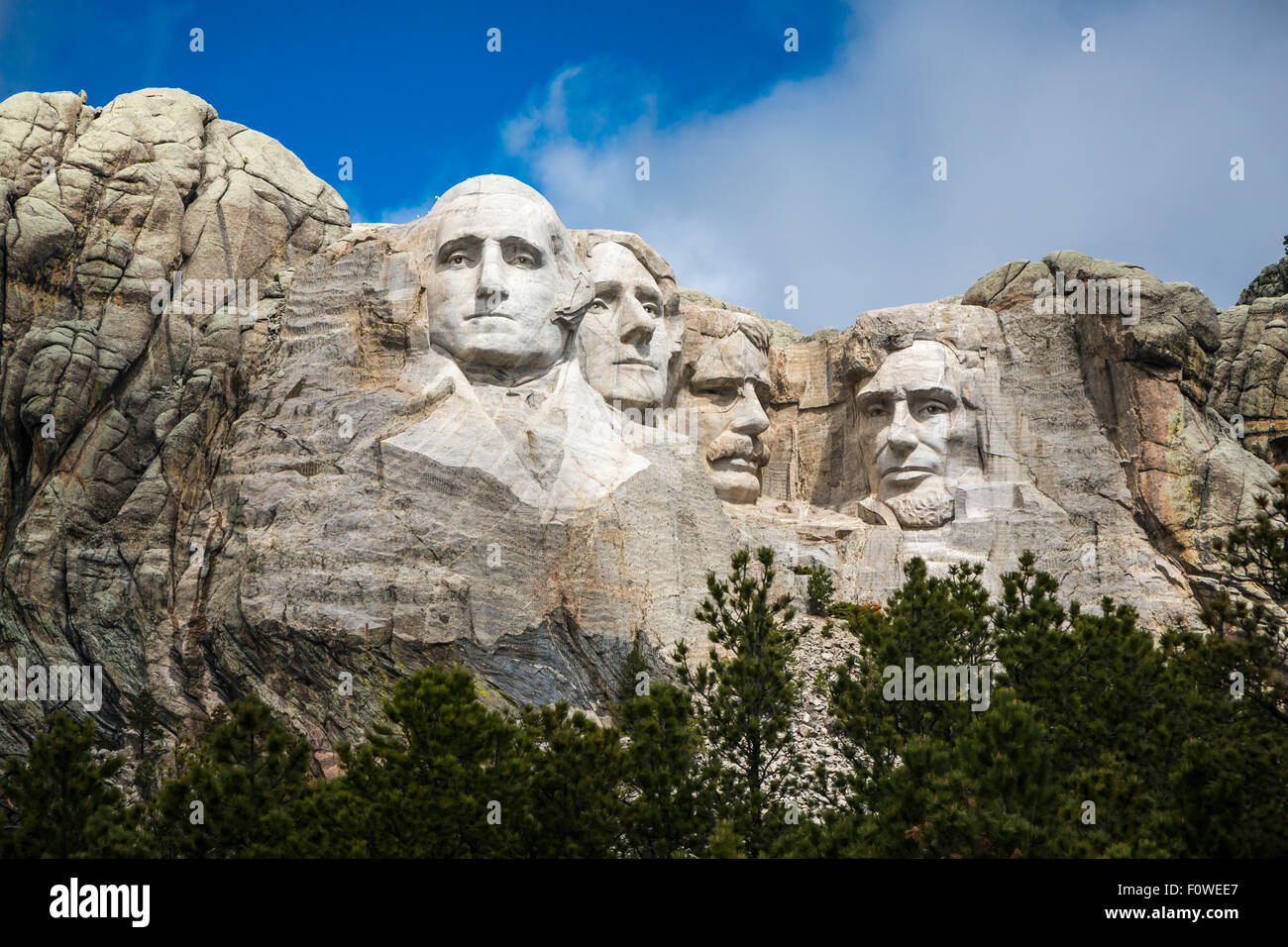 The display of Presidents at the Mount Rushmore National Memorial near Keystone, South Dakota, USA. - Stock Image
