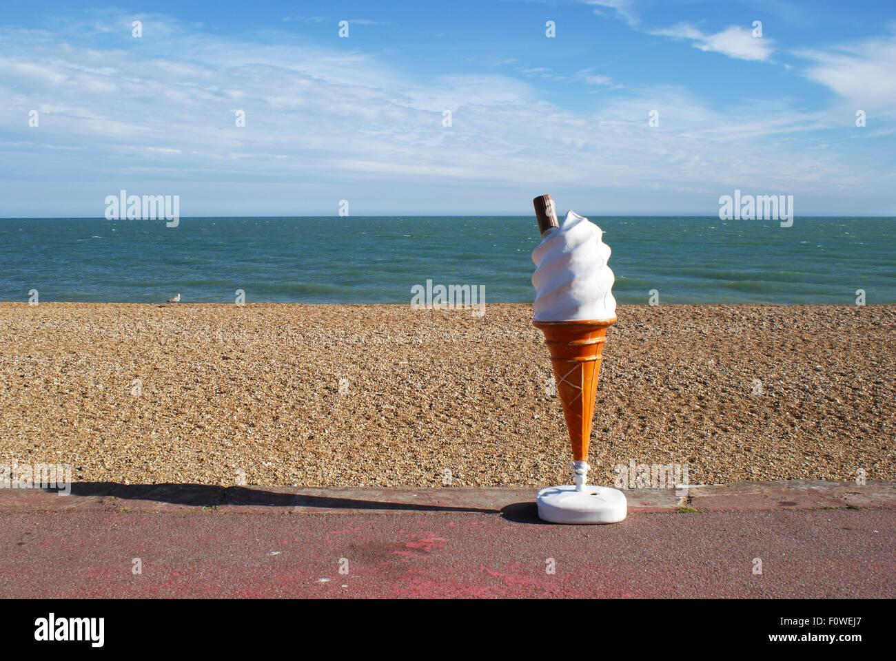 3D Ice Cream advertising display model at the Sandgate Beach, Kent
