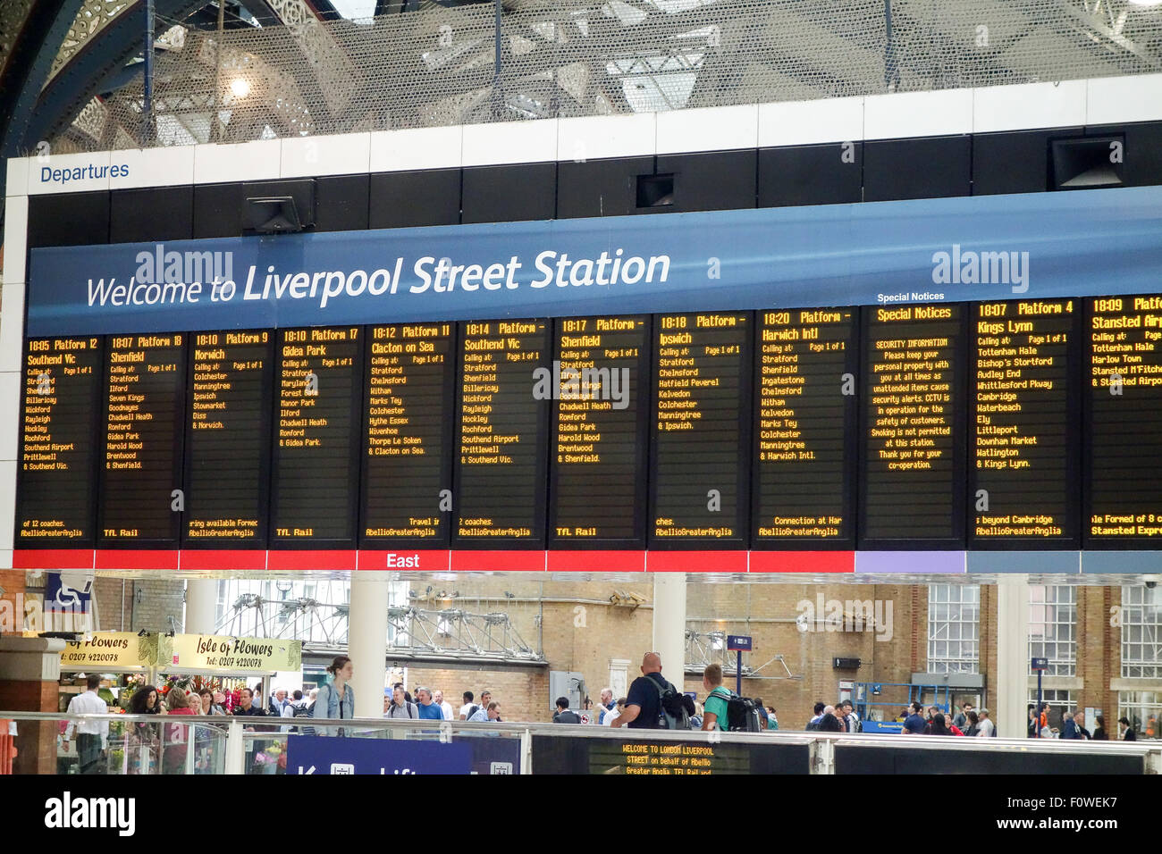 Train departure board at Liverpool Street Station. - Stock Image