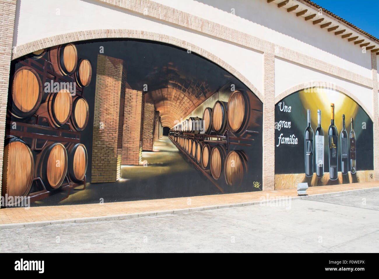 Painting at the entrance of the Luzon Bodega, Jumilla, Province of Murcia, Spain - Stock Image