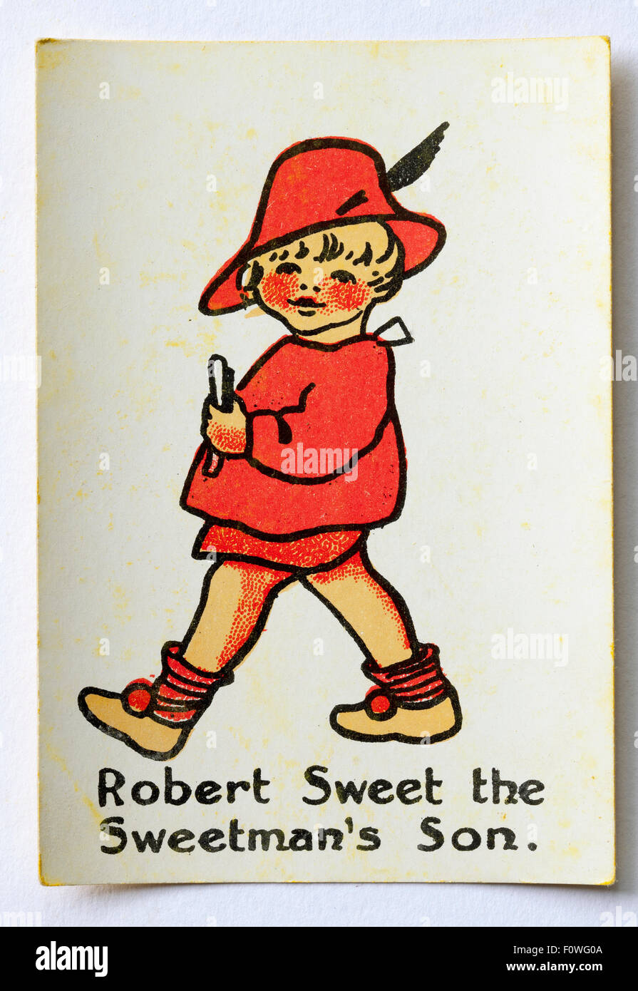 Robert Sweet the Sweetmans Son from pack Happy Familes Playing Cards - Stock Image