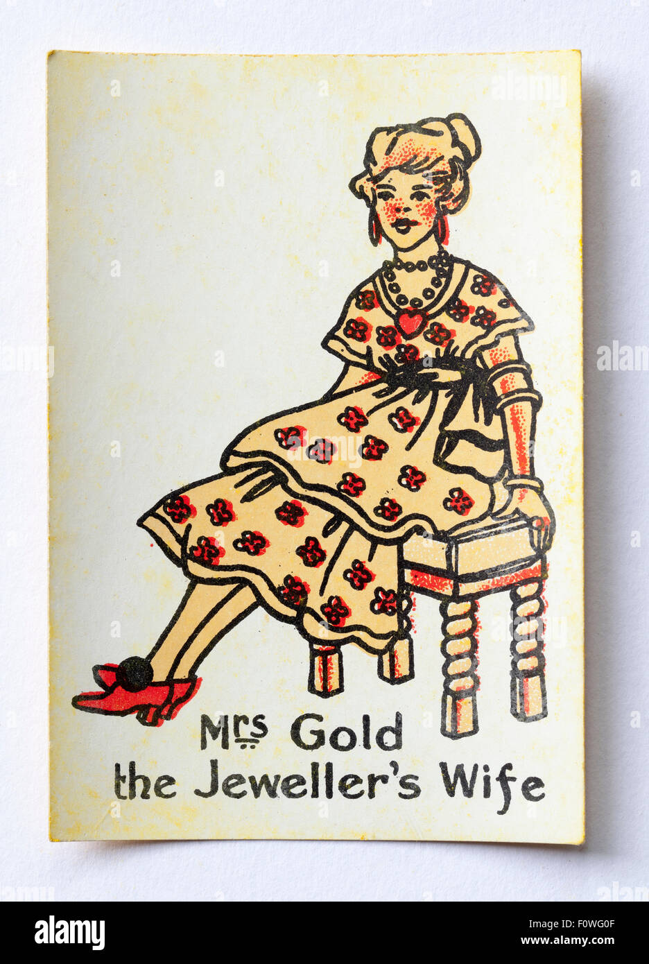 Mrs Gold the Jewellers Wife from pack Happy Familes Playing Cards - Stock Image