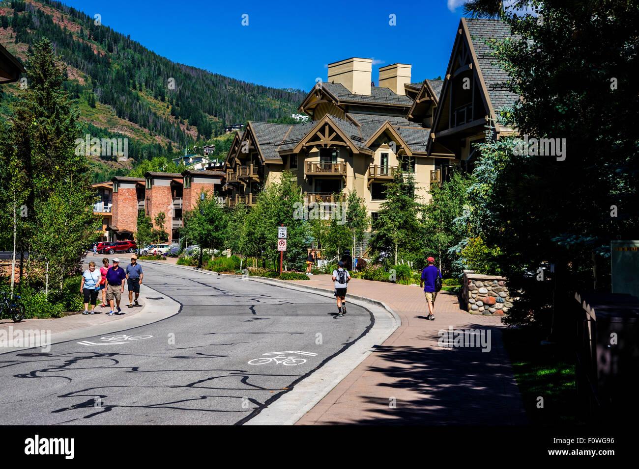 Street Scene In Vail Colorado - Stock Image
