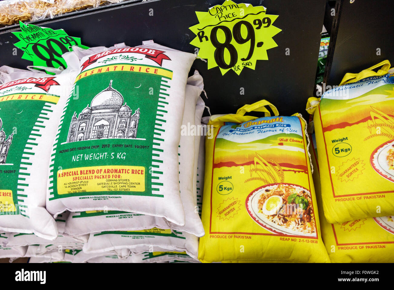 Cape Town South Africa African Woodstock Victoria Road Balmoral Grocery Store supermarket sale display food sacks Stock Photo