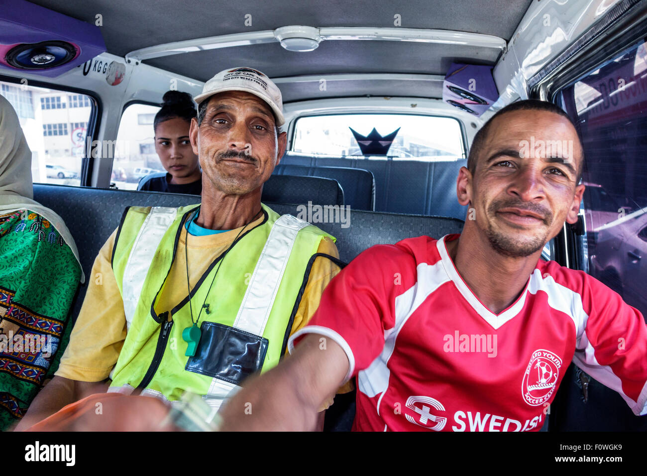 Cape Town South Africa African Woodstock Victoria Road taxi shuttle service van riders passengers shared - Stock Image