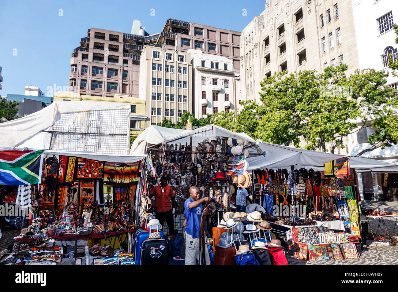Cape Town South Africa African City Centre center Green Market Square shopping souvenirs arts & crafts vendor stall Stock Photo