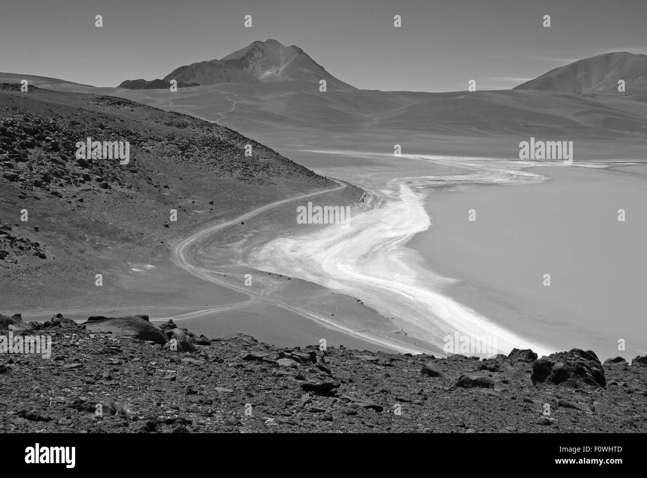 Volcanic landscape and high altitude desert in the Bolivian Altiplano - Stock Image