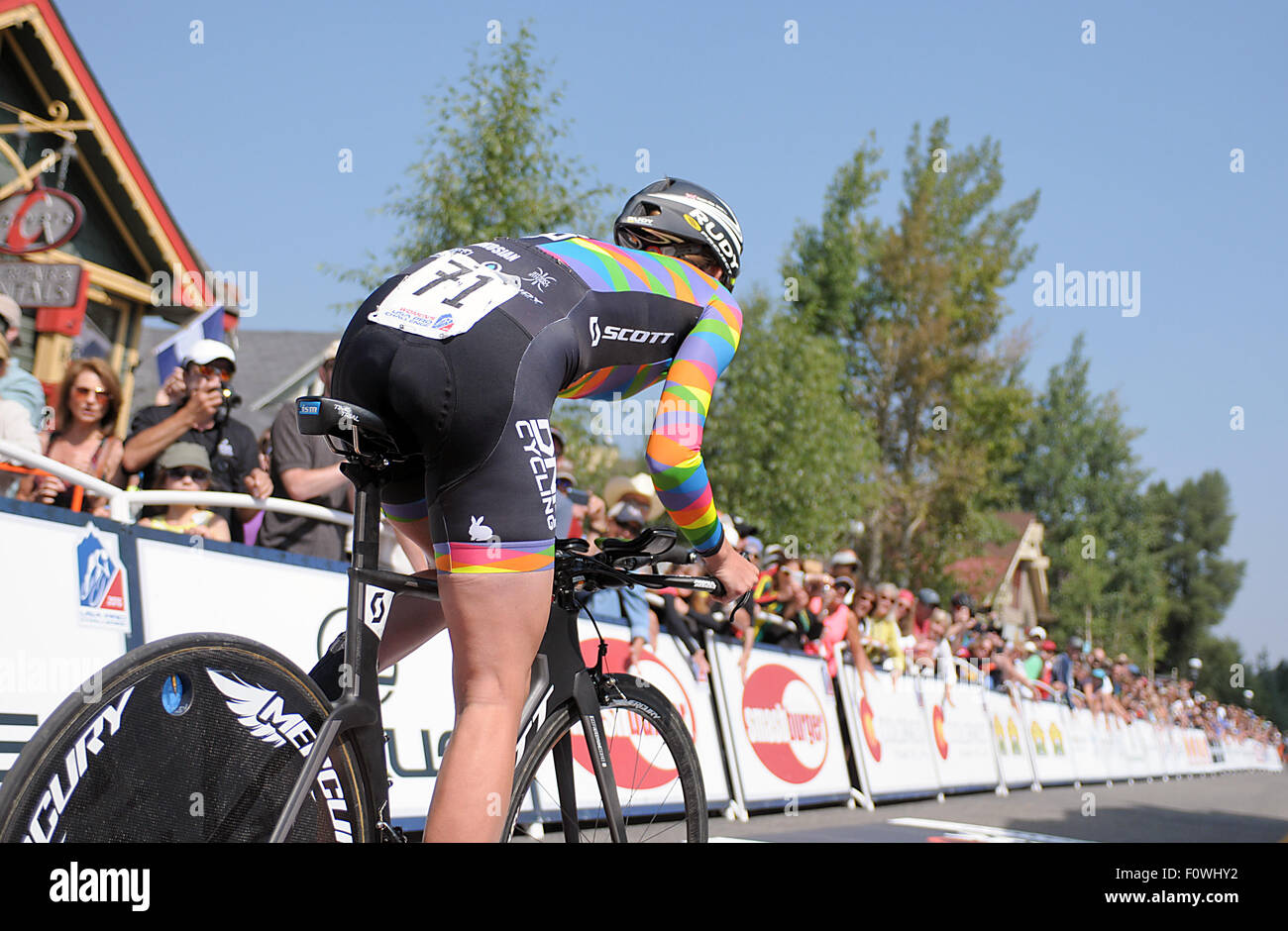 Breckenridge, Colorado, USA. 21st August, 2015. DNA Cycling rider, Lauren De Crescenzo, leaves the time trial start - Stock Image