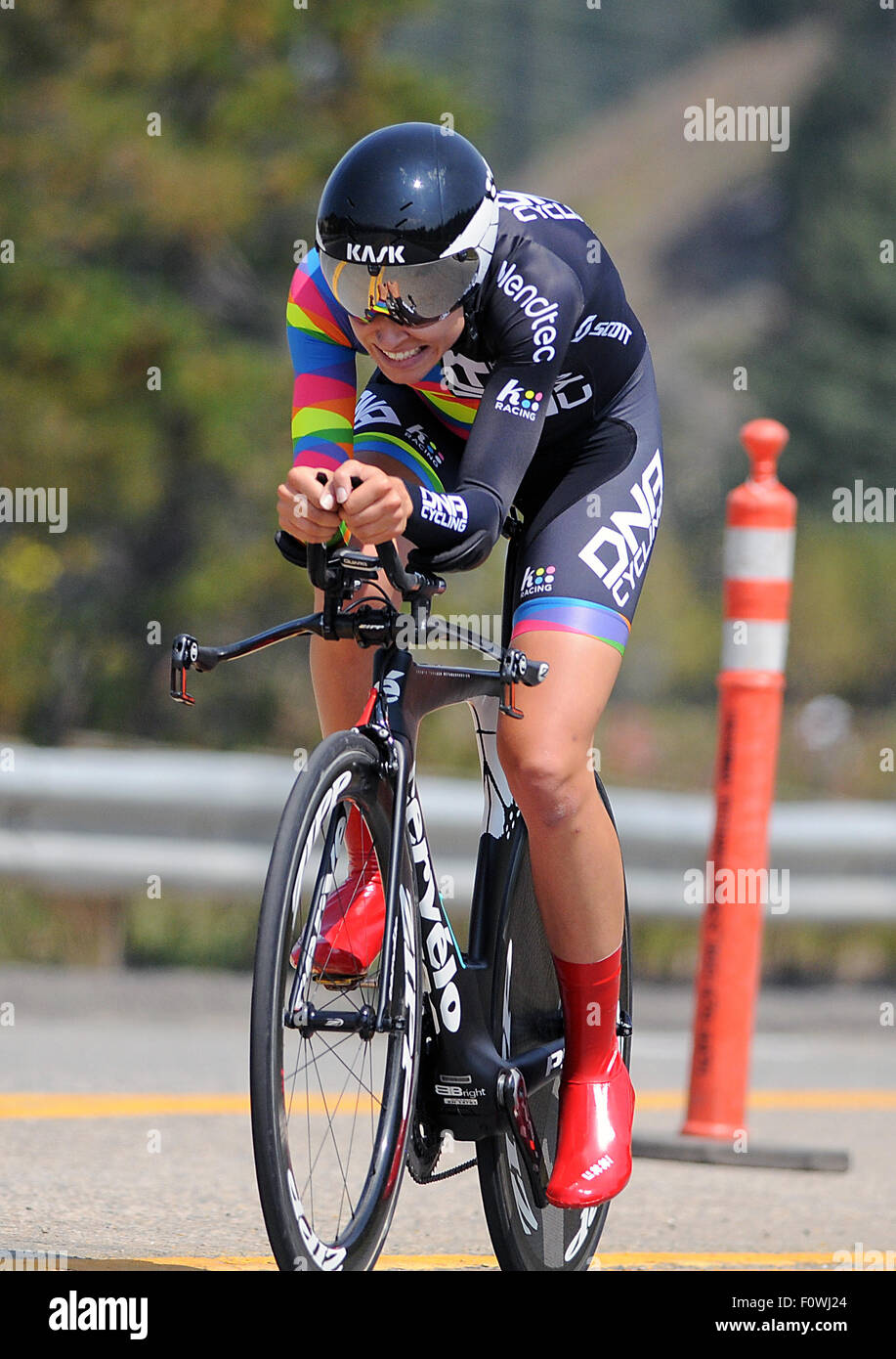 Breckenridge, Colorado, USA. 21st August, 2015. DNA Cycling rider, Tayler Wiles, during the inaugural women's - Stock Image