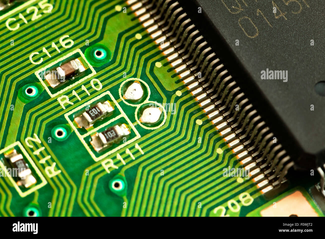 Circuit Board Components Stock Photos Picture Of A Closeup Showing Conductive Traces Chip Contacts And Resistors Image