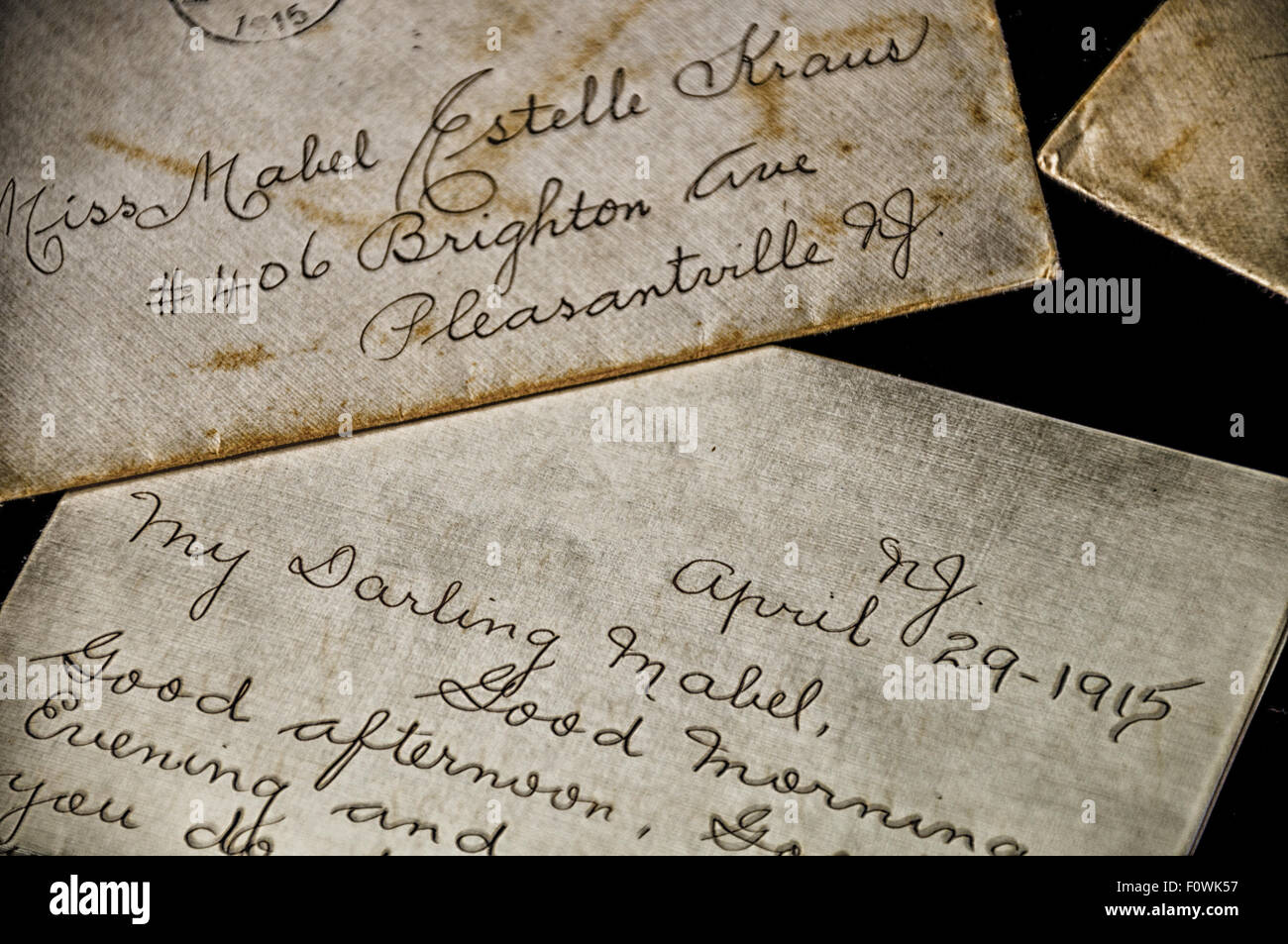 Close up shot of hundred year old love letter - Stock Image