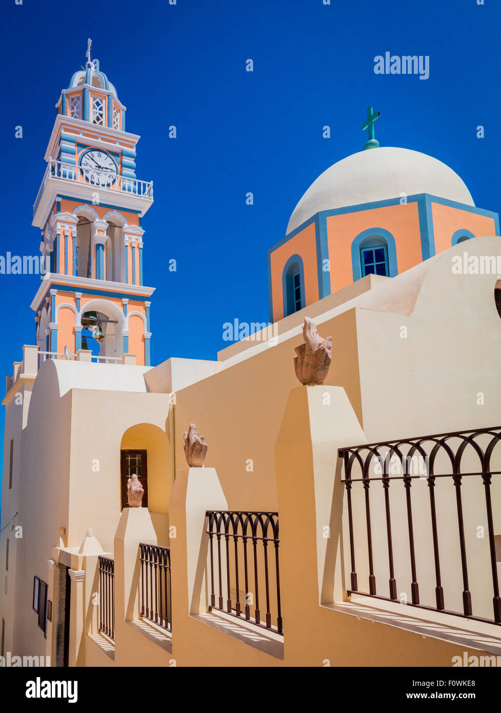 Catholic Cathedral Church of Saint John The Baptist in the town of Thira on the greek island Santorini (Thera) - Stock Image