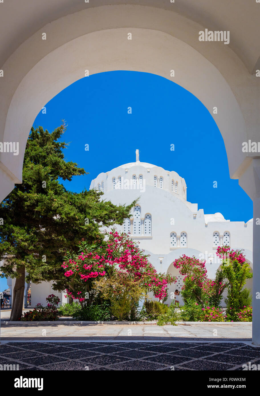 Orthodox Metropolitan Cathedral in the town of Thira on the greek island Santorini (Thera) - Stock Image